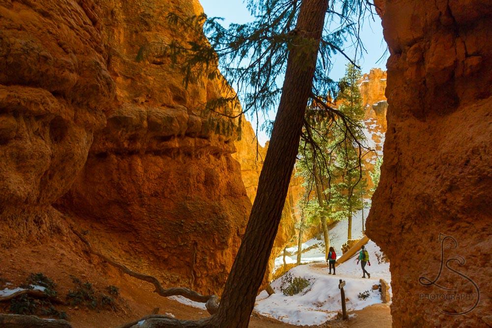 Two hikers walking past a slot canyon | LotsaSmiles Photography