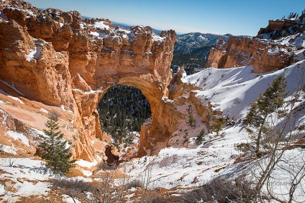 Natural Bridge arch within a snowy Bryce Canyon | LotsaSmiles Photography