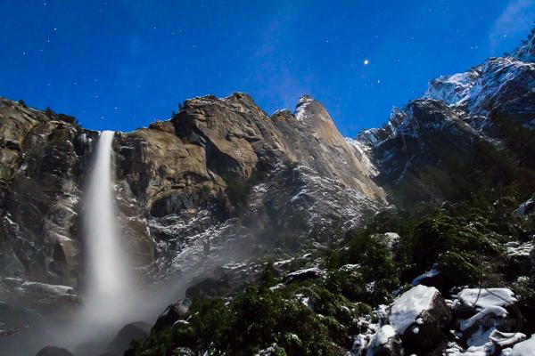 Bridalveil Falls under the moonlight in Yosemite National Park   LotsaSmiles Photography